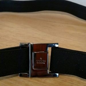 Gucci Belt - Black Canvas-Leather-Silver Buckle